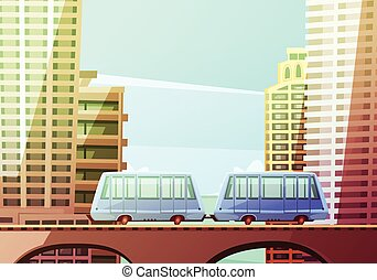 Miami Suspended Monorail - Miami downtown cartoon...