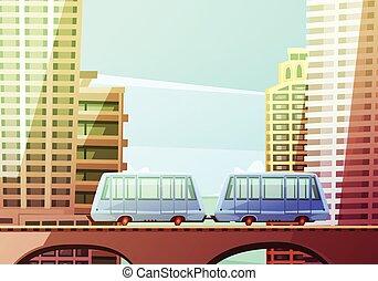 Miami Suspended Monorail - Miami downtown cartoon...