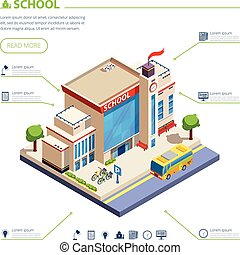 School Building Design Illustration - School building design...