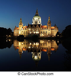 New City Hall in Hannover Germany at night - New Town Hall...