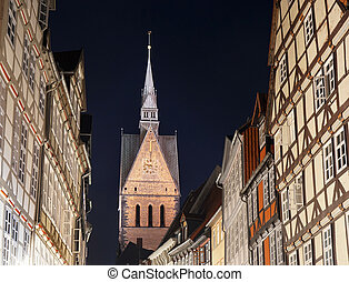 old town with market church in Hannover Germany - old town...