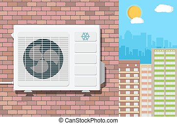 Air conditioning unit on wall of brick building