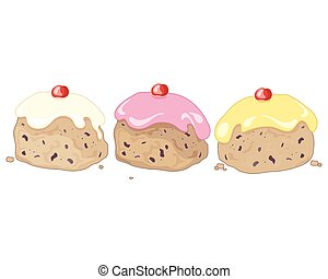 three iced buns - a vector illustration in eps 8 format of...