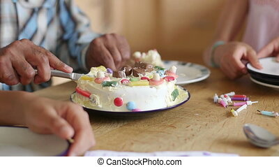 Pieces of Cake - Family at home celebrating a birthday. The...