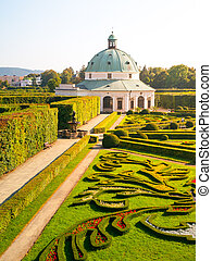 Flower Garden with baroque rotunda in Kromeriz - Kromeriz...