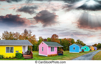Colourful homes of New England.