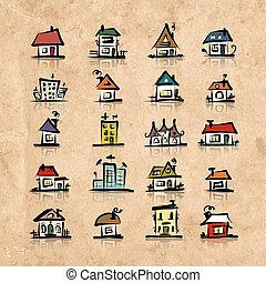 Set of houses on grunge paper, sketch for your design....