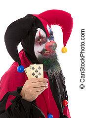 Madly, Palhaço, segurando, tocando, Cartões, isolado,...