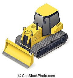 Bulldozer detailed icon - Bulldozer detailed isometric icon...