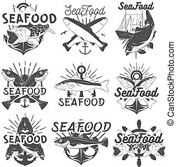 Vector monochrome set of seafood emblems, badges, banners,...