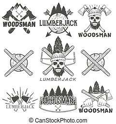 Vector set lumberjack logos, emblems, banners, labels or...
