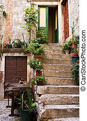 old courtyard - Stone staircase with plants in a medieval...