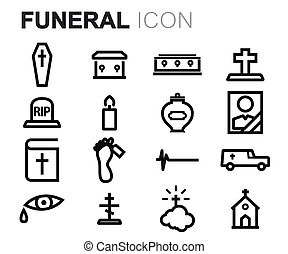 Vector black line funeral icons set on white background