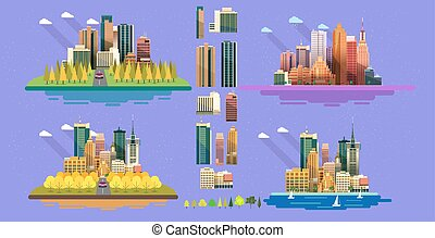 City Set of icons for your design. Flat style vector illustration.