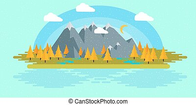 Flat design nature landscape illustration with sun, hills and clouds.