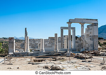 Temple of Demeter in Naxos - Close up of Demeter temple in...