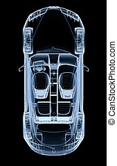 Top x-ray car on a black background - 3D illustration