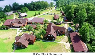 buildings in recreation zone aerial view - buildings in the...