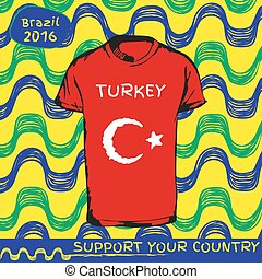Vector pattern with t-shirt with country flag - Hand drawn...