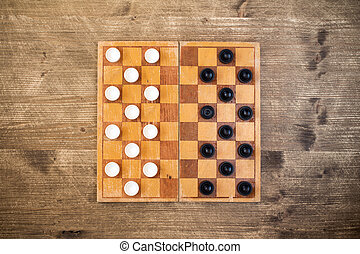 Draughts checkers board game.