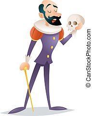 Tragic actor theater stage man medieval suit retro cartoon character isolated design vector illustration