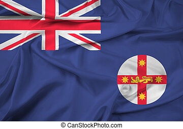Waving Flag of New South Wales State, Australia