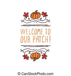 Vector handdrawn autumn element with text - Hand-sketched...