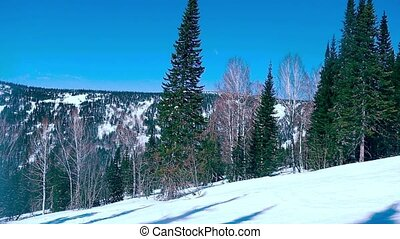 Beautiful winter landscape in slowmotion on ski resort....