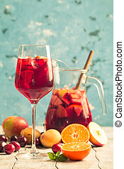 o, fruta,  sangría, refrescante, Puñetazo