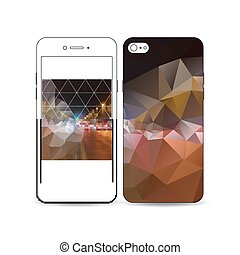 Mobile smartphone with an example of the screen and cover design isolated on white. Dark polygonal background, blurred image, night city landscape, car traffic, modern triangular texture