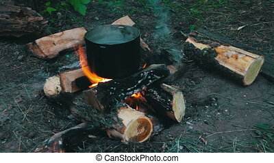 Cooking on the Campfire - Cooking food over a campfire at...