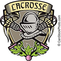 Knight Armor Lacrosse Stick Crest Woodcut - Illustration of...