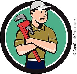 Plumber Arms Crossed Circle Cartoon - Illustration of a...