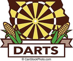 Dart Board Iowa State Map Corn Retro