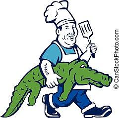 Chef Alligator Spatula Walking Cartoon