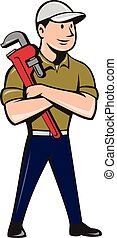 Plumber Arms Crossed Standing Cartoon - Illustration of a...