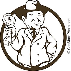 Businessman Fedora Hat Bank Notes Circle Cartoon -...