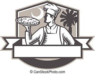 Pizza Chef Pizza Moon Palmetto Tree Shield Retro