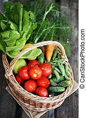 vegetables in big basket. top view
