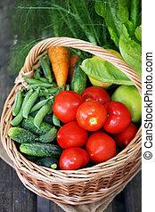 vegetables in big basket