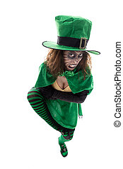 Evil leprechaun girl, isolated on white, concept ireland and...