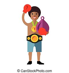 Vector Boxing success Flat style colorful Cartoon...