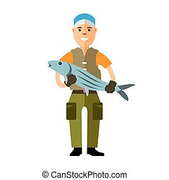 Vector Fishing concept. Fisherman with big fish. Flat style...