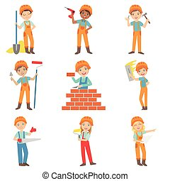 Construction Work And Kids Builders Set Of Bright Color...
