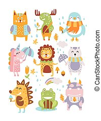 Animal Woodland Autumn Vector Set. Cartoon of cute animals