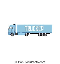 Large Blue Long-Distance Truck With Sign Trucker On Its Side...