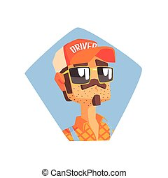 Long Distance Truck Driver Portrait Cool Colorful Vector...