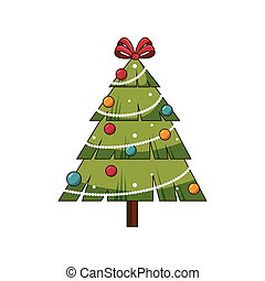 christmas pine tree with balls and red ribbon decoration....