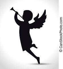 silhouette angel manger isolated design vector illustration...