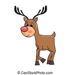 reinder smiling with red nose - brown reindeer smiling with...
